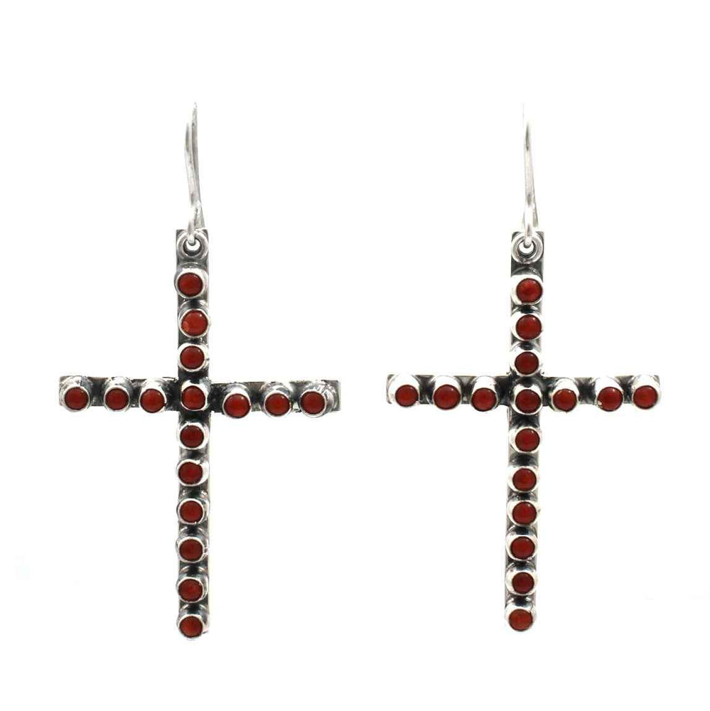 Red Coral Cross Dangle Earrings