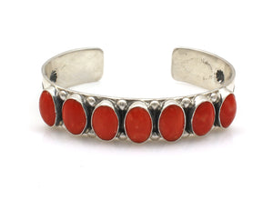 Red Coral Row Cuff BraceletJewelryDon Lucas at sorrel sky gallery