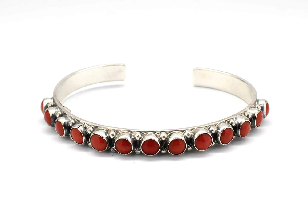 Red Coral Row Cuff Bracelet
