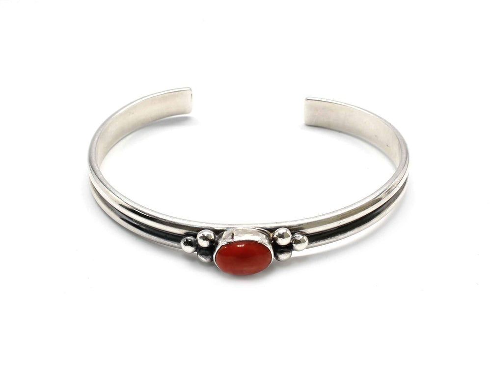 Single Stone Coral Cuff Bracelet-Don Lucas-Sorrel Sky Gallery-Jewelry