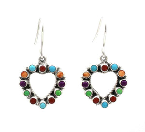 silver heart earrings with multi color stones by don lucas