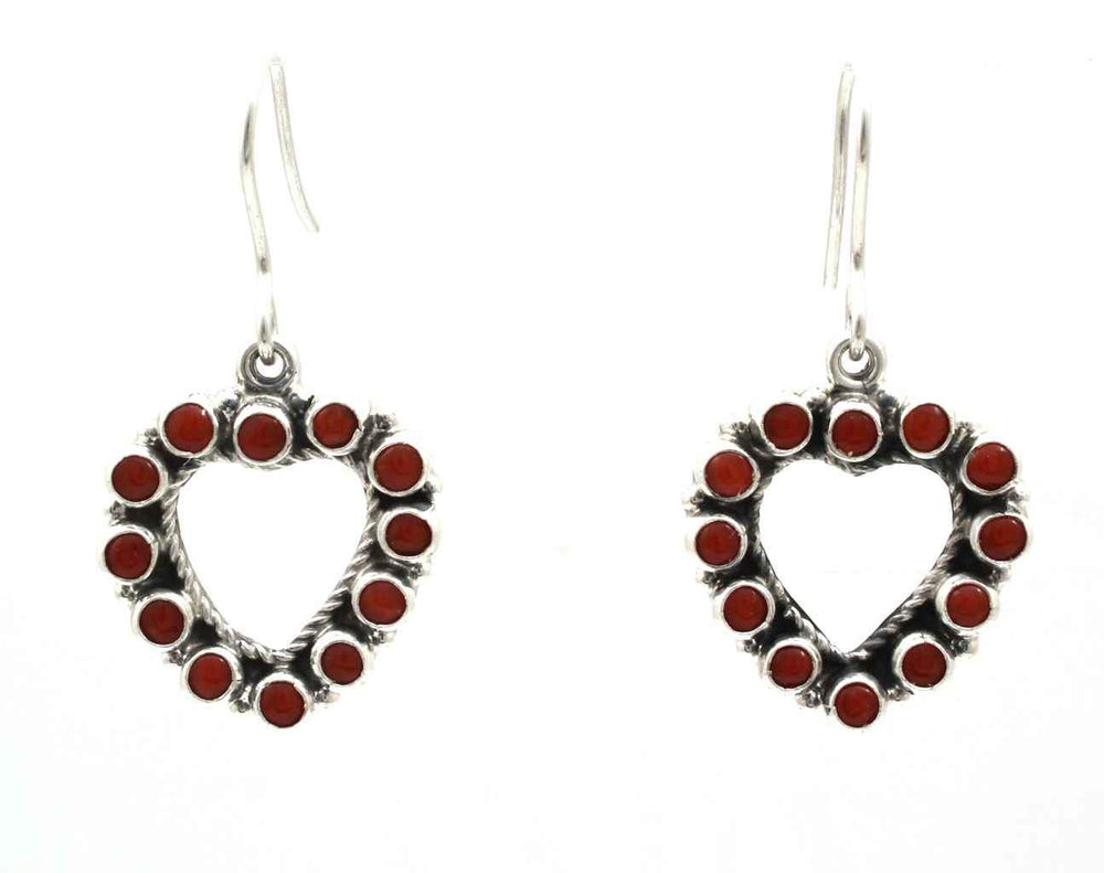 silver heart earrings with red coral by don lucas