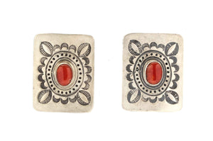 Square Coral Earrings-Don Lucas-Sorrel Sky Gallery-Jewelry