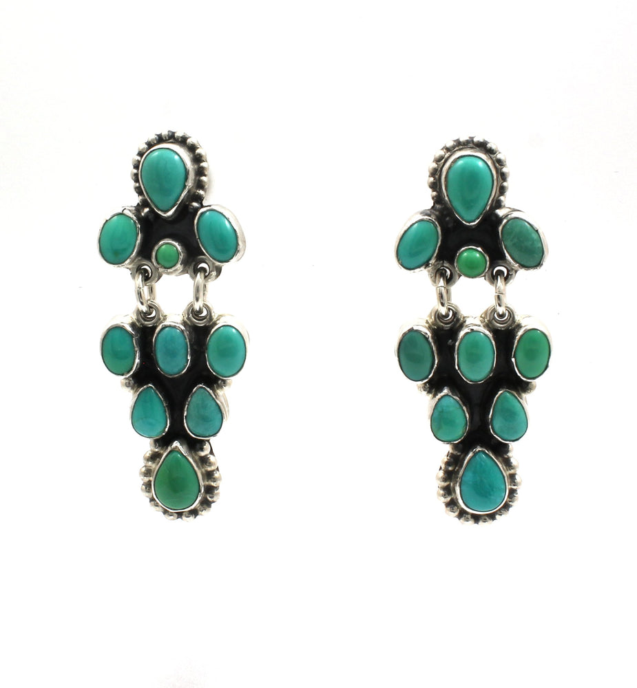 Turquoise Cluster Drop Earrings