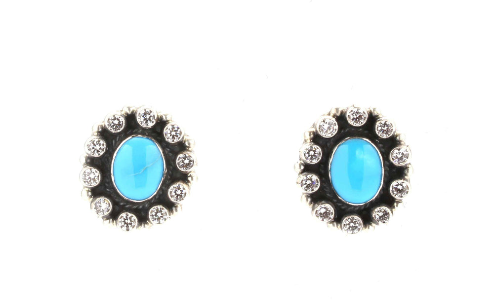 Turquoise Cluster Earrings-Don Lucas-Sorrel Sky Gallery-Jewelry
