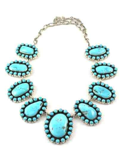 Turquoise Cluster Link Necklace-Don Lucas-Sorrel Sky Gallery-Jewelry