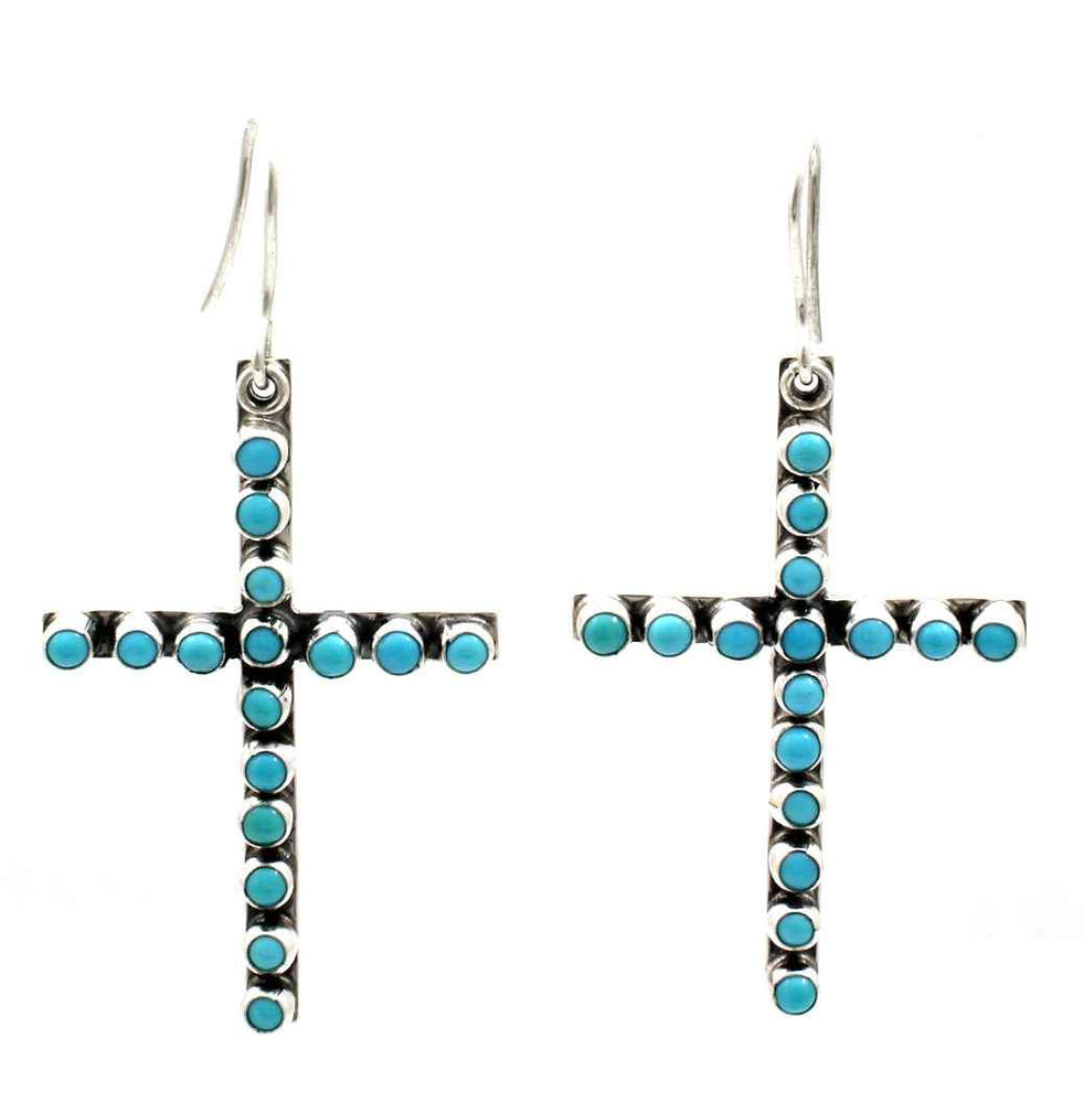 Turquoise Cross Dangle Earrings-Jewelry-Don Lucas-Sorrel Sky Gallery