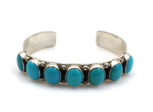 Turquoise Row Cuff Bracelet-Jewelry-Don Lucas-Sorrel Sky Gallery