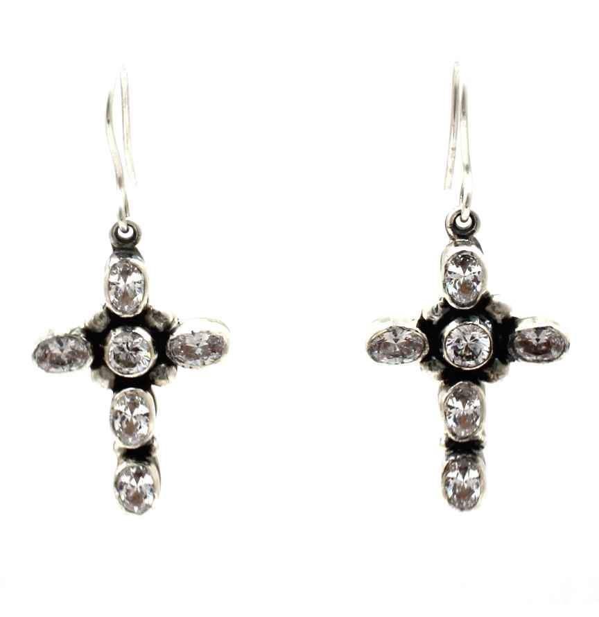 Zirconia Cross Dangle Earrings-Jewelry-Don Lucas-Sorrel Sky Gallery