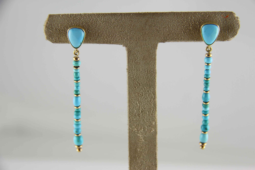 Cerrillos Turquoise Bead Drop Earrings