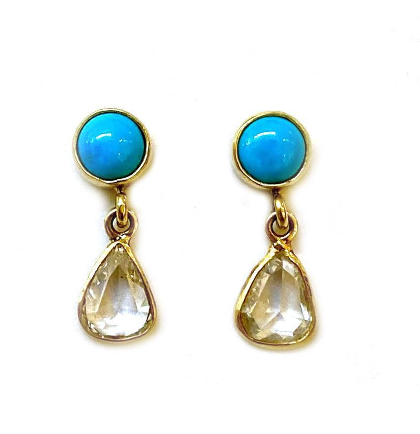 Cerrillos Turquoise Diamond Earrings