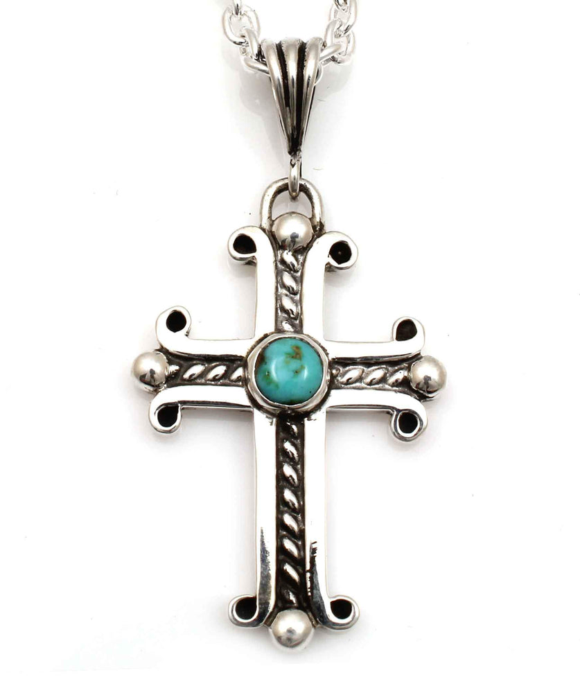 Large Spanish Cross with Cerrillos Turquoise