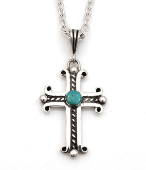 Large Spanish Cross with Cerrillos Turquoise-Jewelry-Doug Magnus-Sorrel Sky Gallery