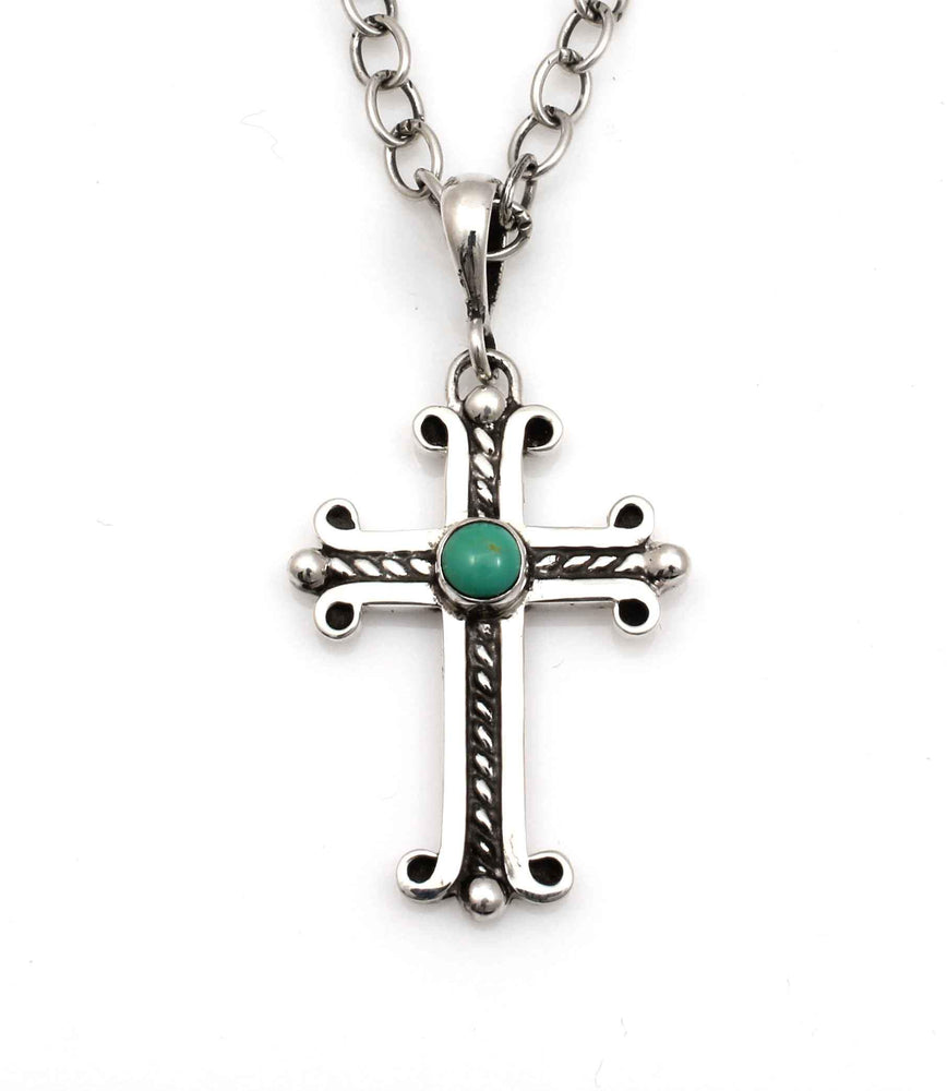 Medium Spanish Cross with Cerrillos Turquoise-Jewelry-Doug Magnus-Sorrel Sky Gallery