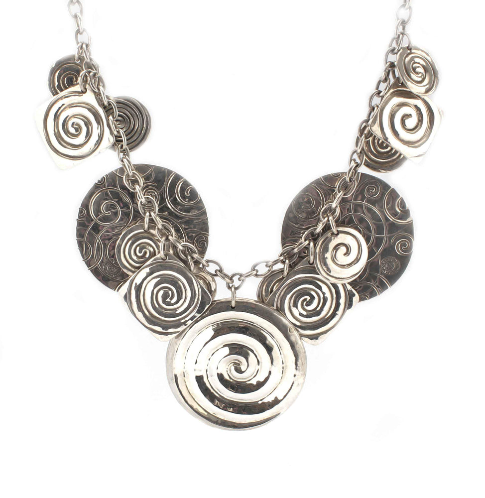 Multi-Disk Silver Necklace