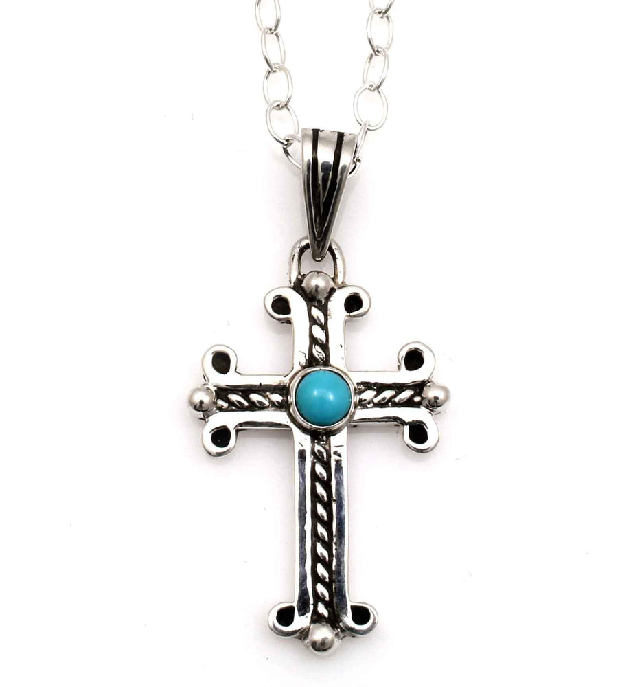 Small Spanish Cross with Cerrillos Turquoise-Jewelry-Doug Magnus-Sorrel Sky Gallery