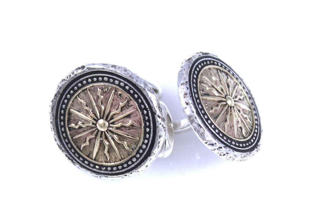 Sterling Silver And 14k Gold Sun Cufflinks