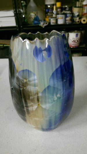 Duly Mitchell-Sorrel Sky Gallery-Pottery-Blue And Tan Flowering Vase