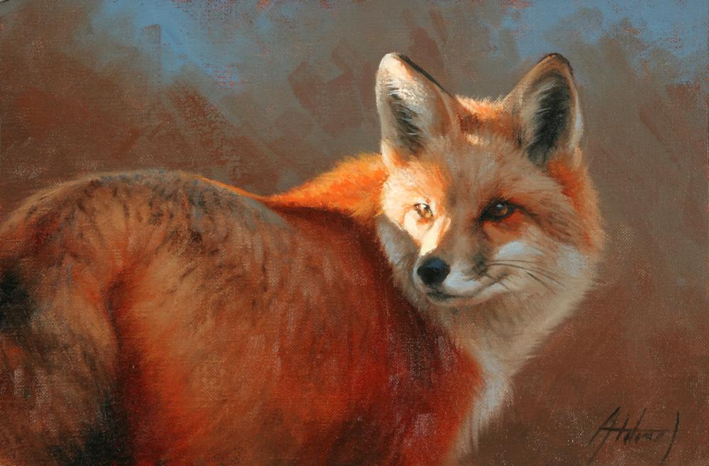 Oil paining of a red fox