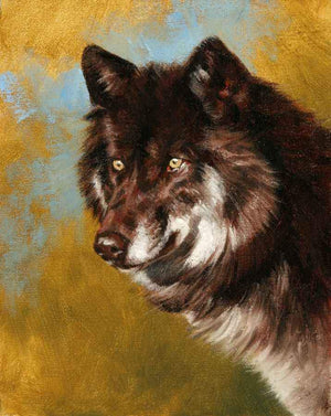 Edward Aldrich-Black Wolf Portrait-Sorrel Sky Gallery-Painting