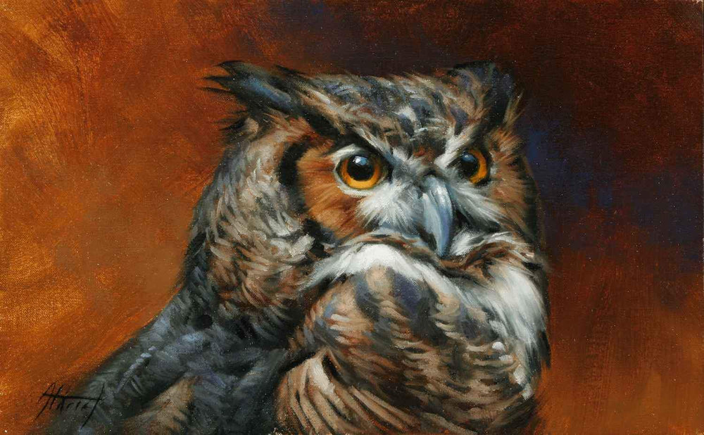 Edward Aldrich-Great Horned Owl Portrait-Sorrel Sky Gallery-Painting