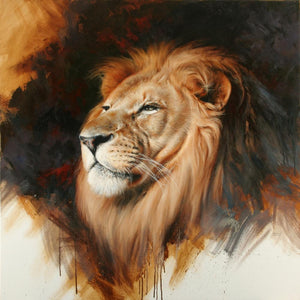 Oil on canvas painting of an African lion by Edward Aldrich