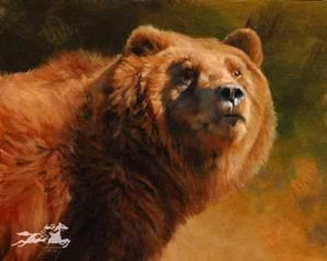Edward Aldrich. Bear. Grizzly. Grizzly Bear Portrait. Sorrel Sky Gallery. Durango Art Galleries. Sorrel Sky. Aldrich Art. Wildlife Art. Wildlife Portrait. Wildlife Paintings.