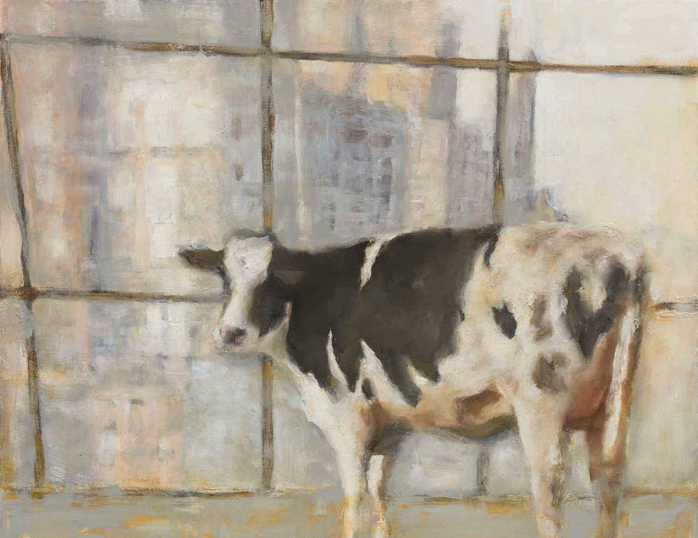 "Painting of a cow looking out a window.  Humorous.  Original Oil Painting by Elsa Sroka.  17"" x 22"""