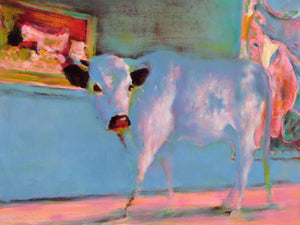 Cow walking in a museum or Gallery.  Whimsical Cows in unexpected places.  Elsa Sroka.
