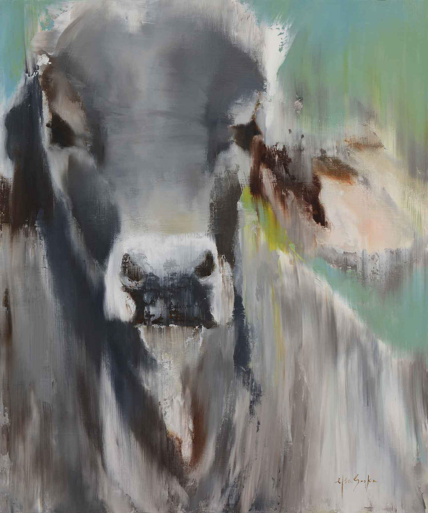 Modern painting of a gray cow portrait. Elsa Sroka. Sorrel Sky Gallery