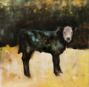 Calf Portrait. Black Calf, white face with accents of blue and green jewel colors. Contemporary western painting.
