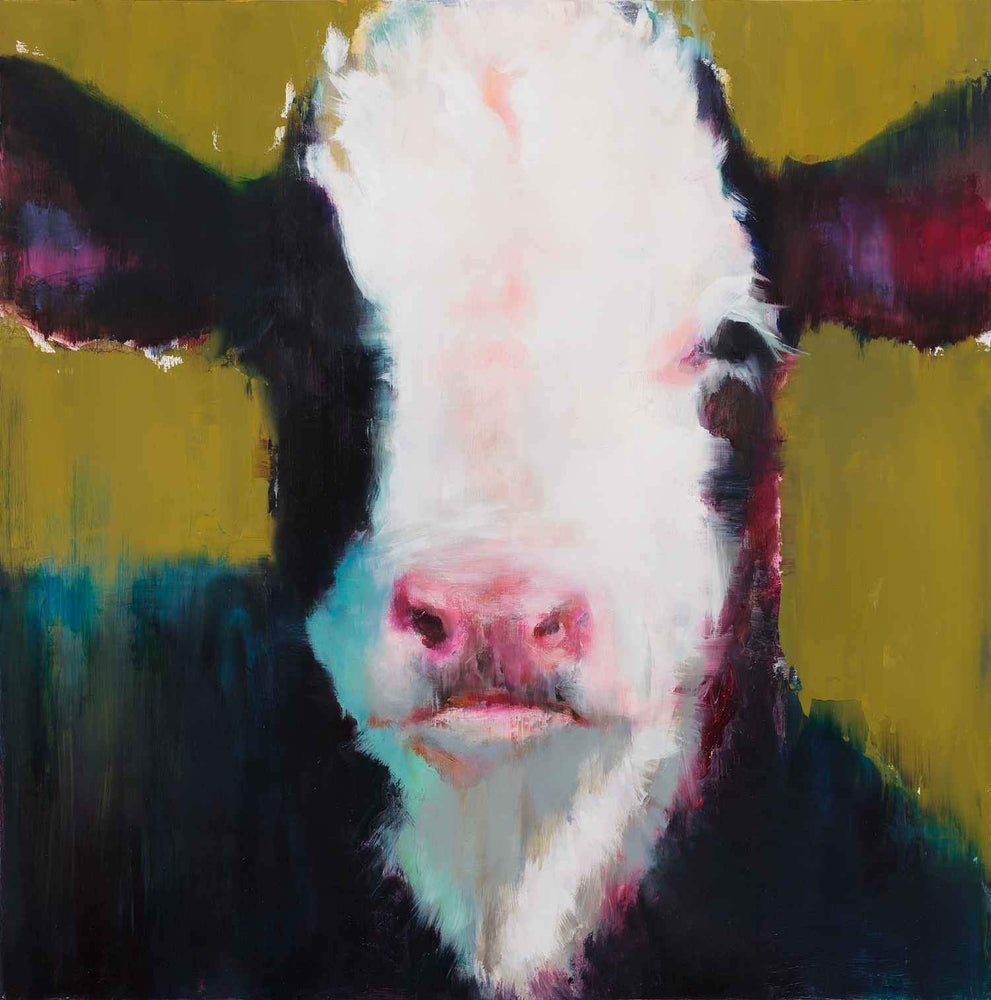 A cute black and white calf portrait on an olive colored background. Original painting by Elsa Sroka. Sorrel Sky Gallery.