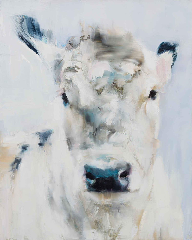 "Cow portrait. Oil Painting by Elsa Sroka.  16"" x 20"""