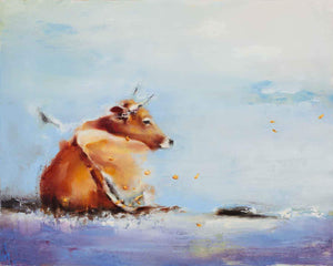 A light brown cow laying down in a winter scene.  Modern and Contemporary painting by Elsa Sroka.
