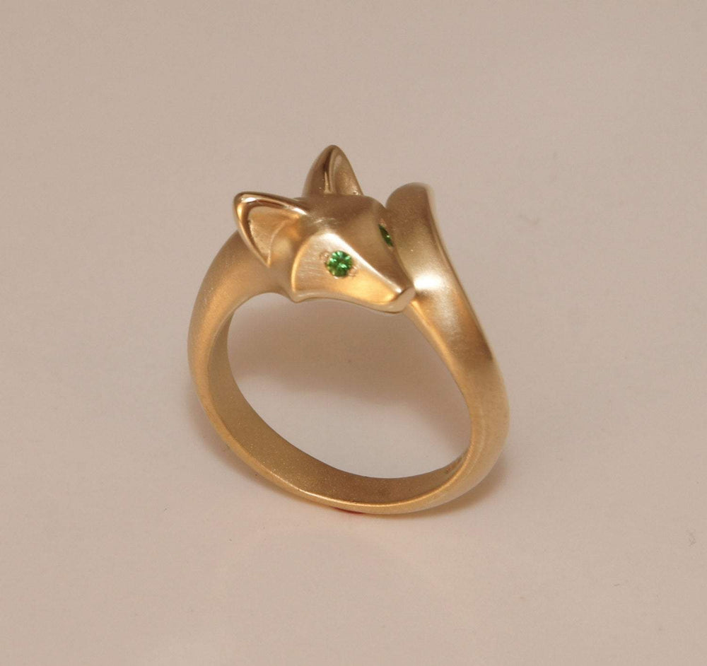 Fox (Baby Kit) Ring with Gemstone Eyes