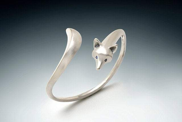 Fox Bracelet - Sterling Silver with Gemstone Eyes