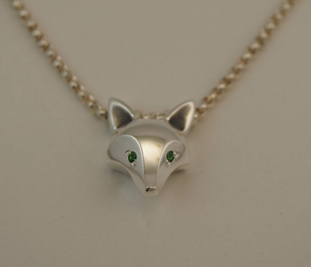 Fox Pendant with Gemstone Eyes