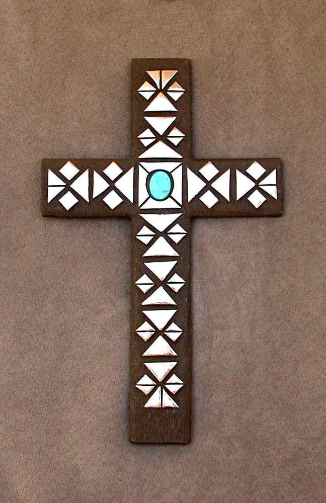 Fred Ortiz-Sorrel Sky Gallery-Sculpture-Bronze Cross With Turquoise