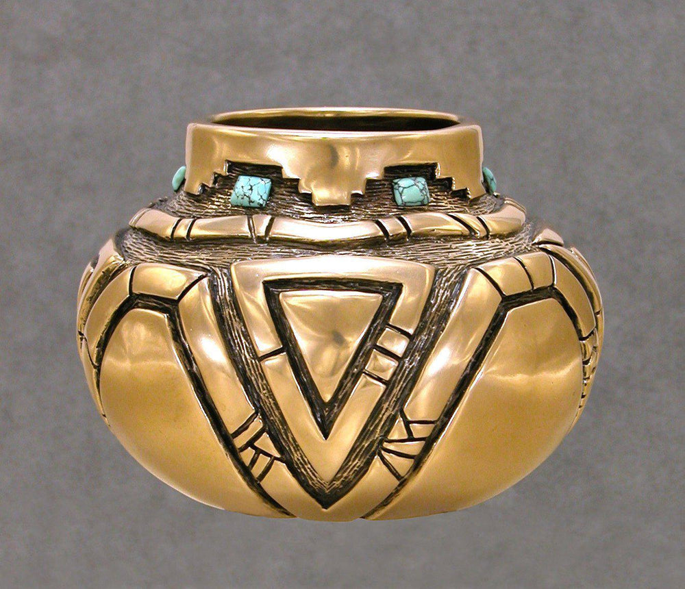 Bronze Vessel With Kingman Turquoise-Sculpture-Fred Ortiz-Sorrel Sky Gallery