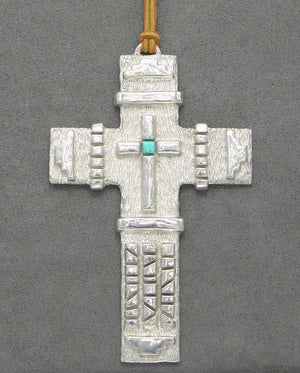 Pewter Cross With Turquoise-Sculpture-Fred Ortiz-Sorrel Sky Gallery