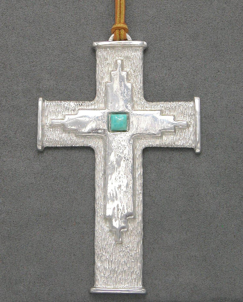 Pewter Cross With Turquoise