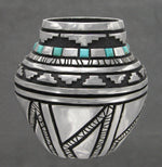 Pewter Vessel With Turquoise