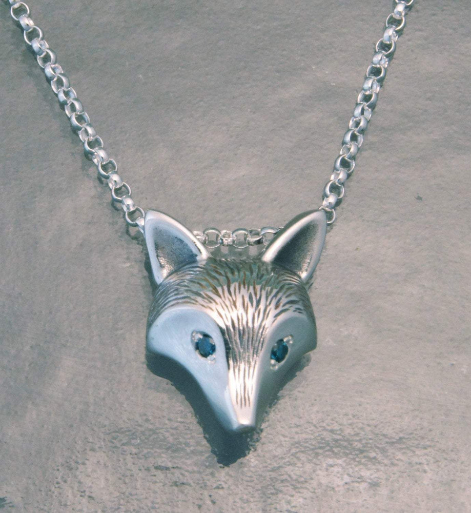 Furred Fox Pendant - Silver with Diamond Eyes