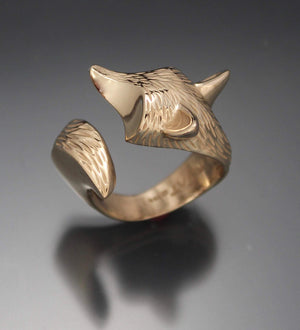 Fox Ring. Bronze Ring. Gold Fox Ring. Michael Tatom Jewelry. Sorrel Sky Gallery.