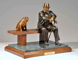 George Lundeen-Sorrel Sky Gallery-Sculpture-Bulldogs (Churchill)
