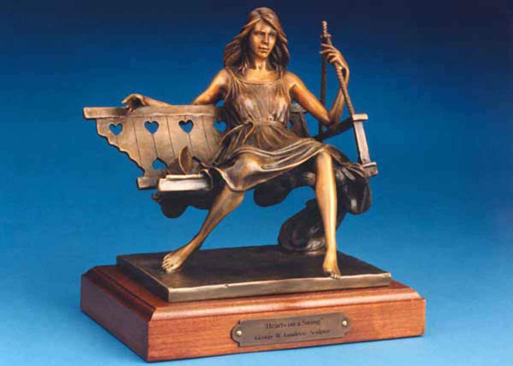 George Lundeen-Sorrel Sky Gallery-Sculpture-Hearts On A Swing