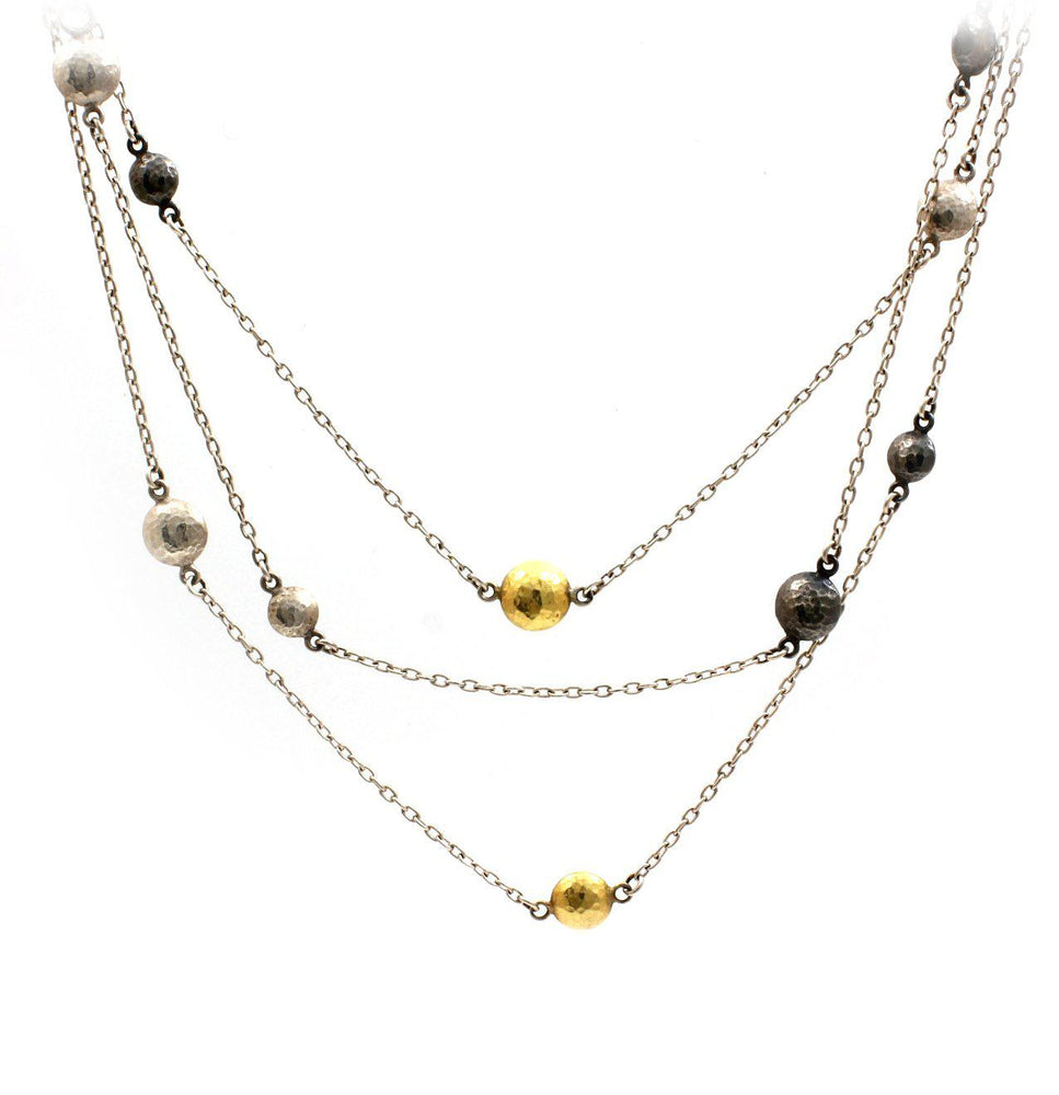 Classic Lentil Tri-Tonal Necklace