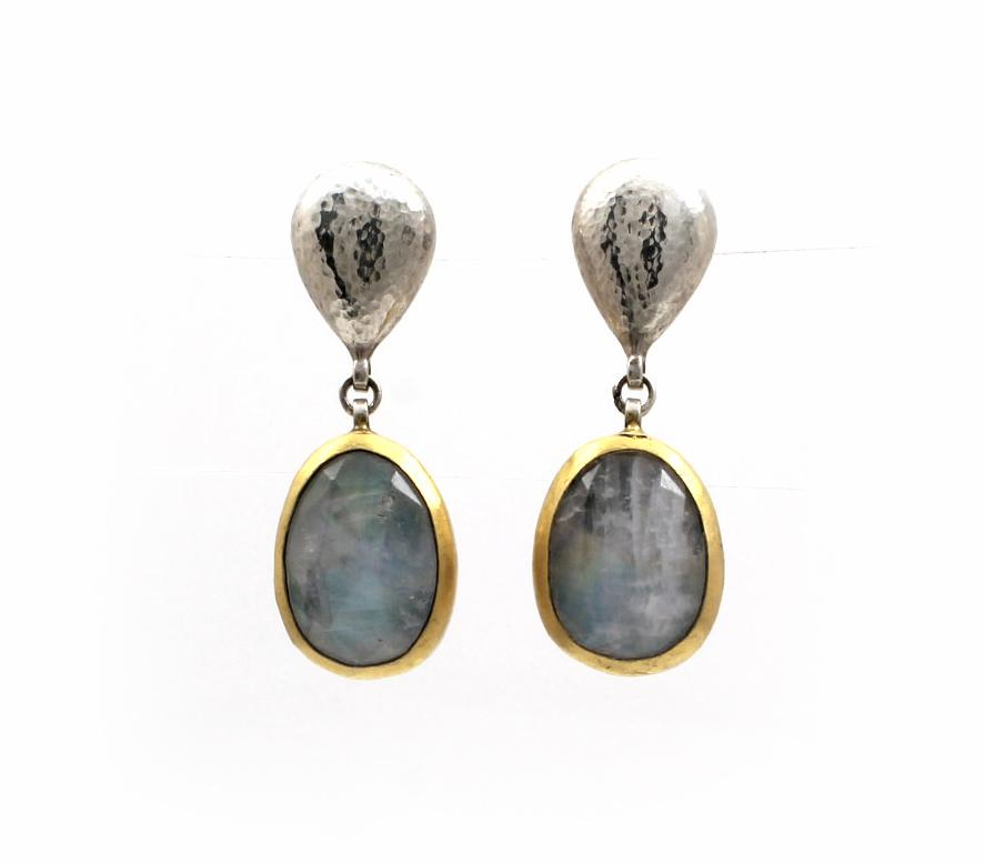 Double Drop Moonstone Earrings