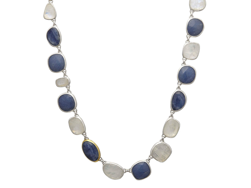 Kyanite and Moonstone Link Necklace