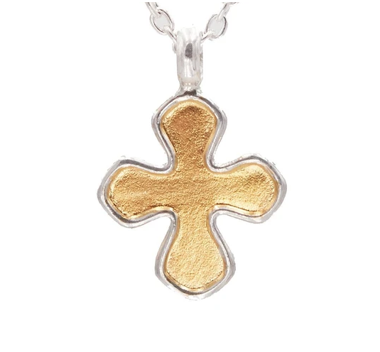 "Silver Cross Pendant ""kissed"" with 24k Gold"